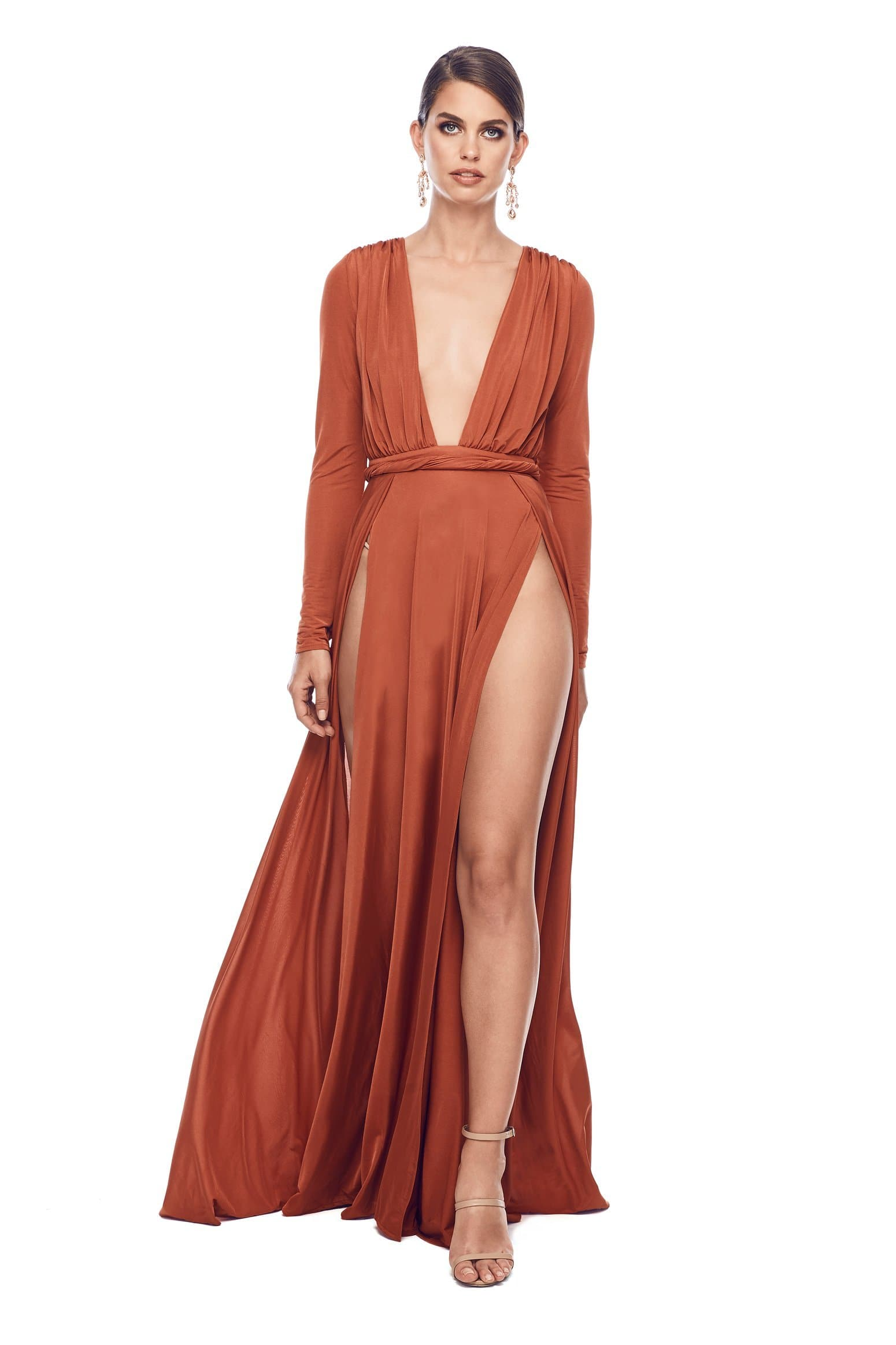 Sahara - Golden Rust Jersey Long Sleeve Gown with Deep Plunge Neckline