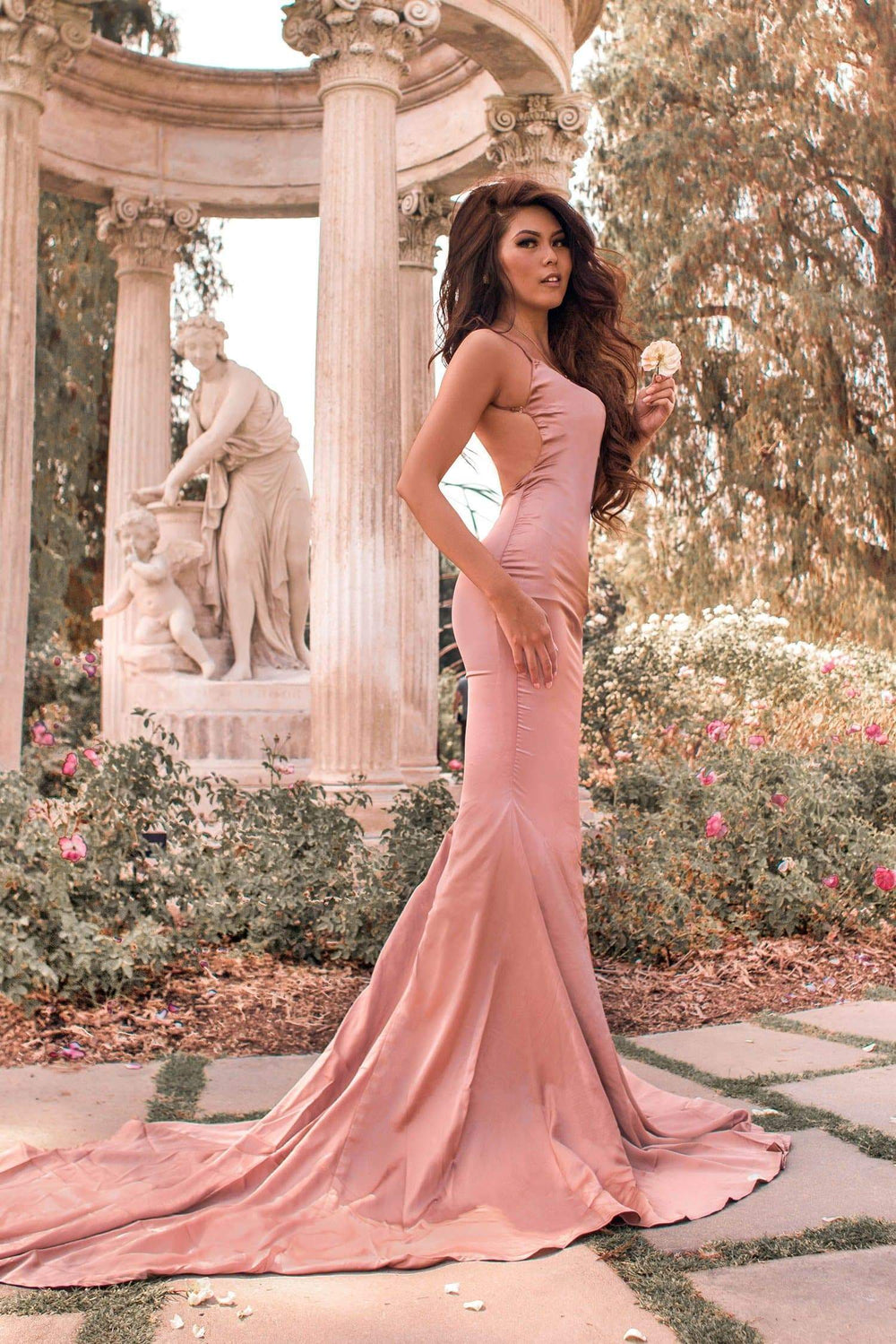 Tamara - Rose Gold Satin Gown with Low Back, Mermaid Train & V-Neck