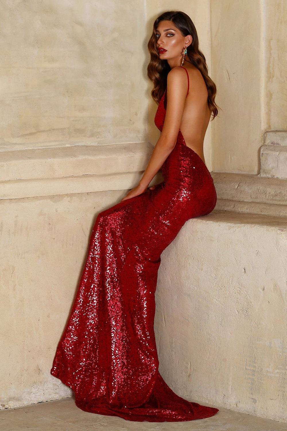 Yassmine - Wine Red Sequin Backless Gown | V-Neckline & Mermaid Train