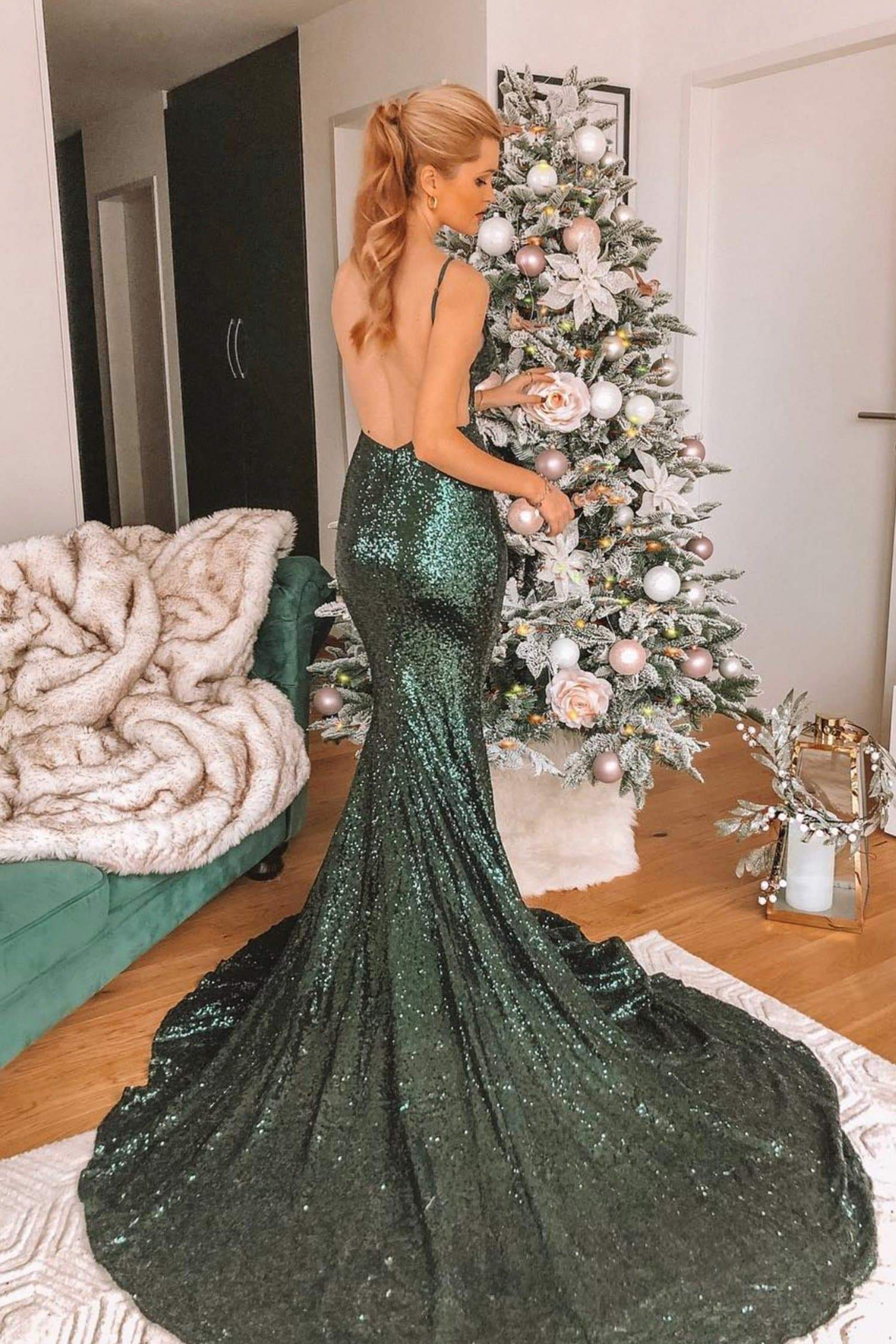 Yassmine Luxe - Emerald Sequin Backless Gown with Mermaid Train