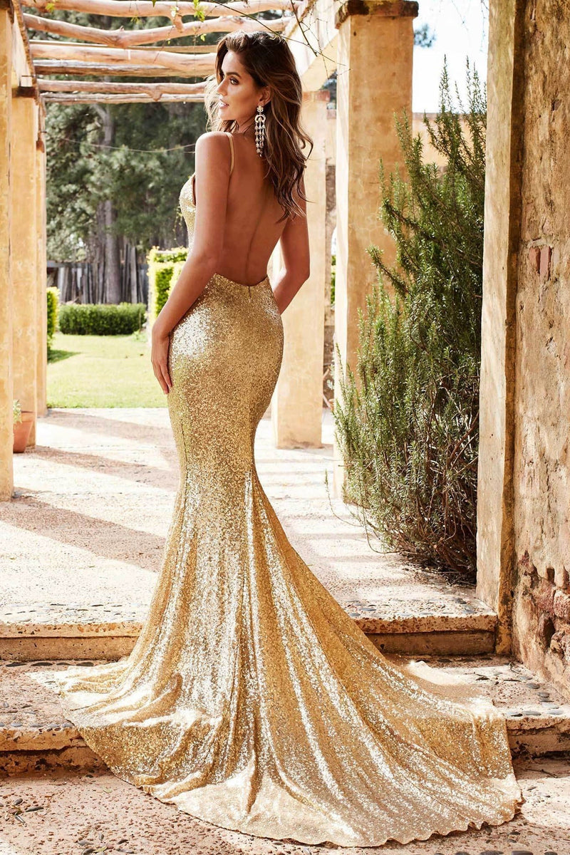 43cb1000 Yassmine Luxe - Gold Sequin Backless Gown with Mermaid Train