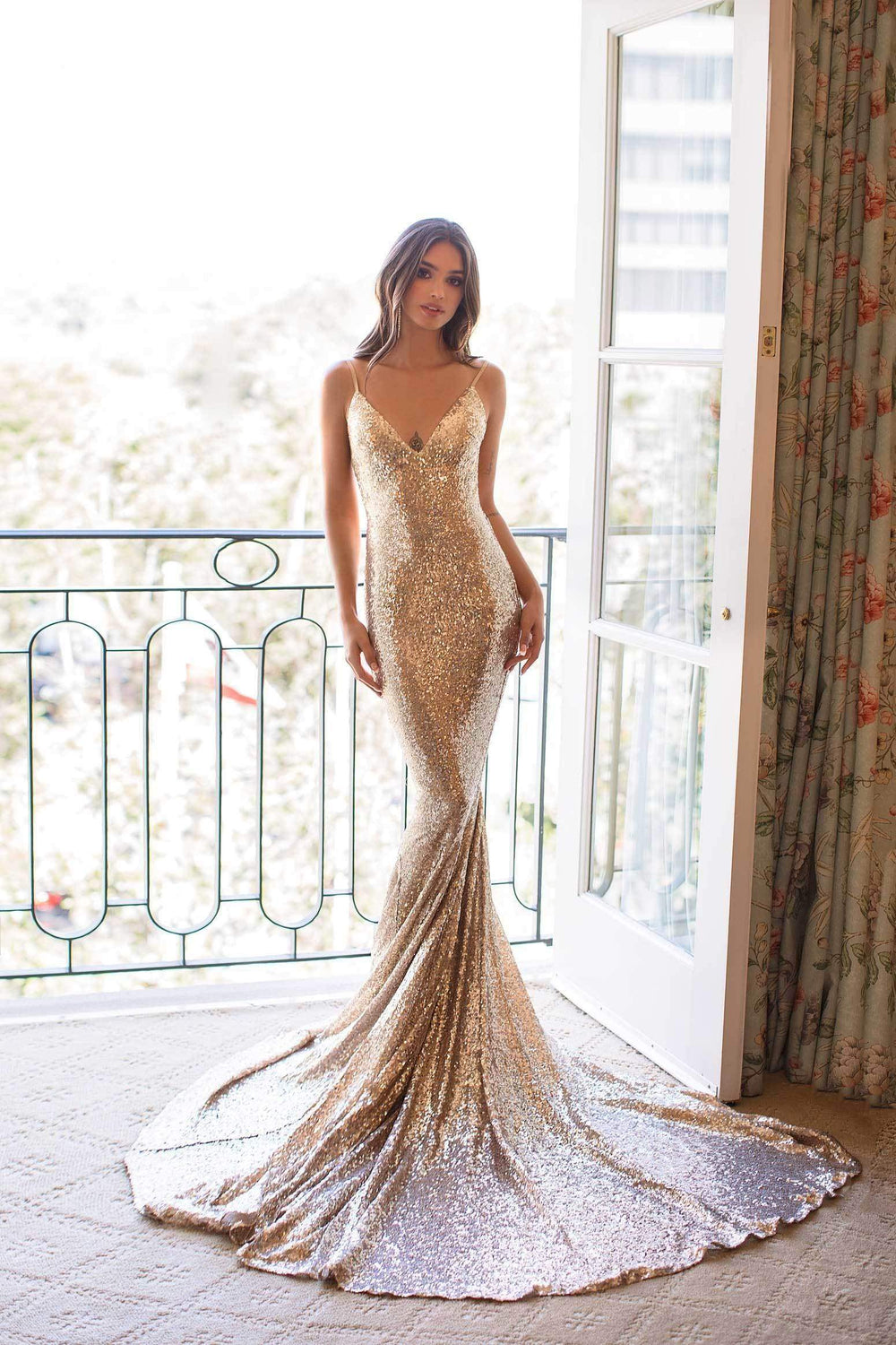 Yassmine Luxe - Copper Gold Sequin Gown with V Plunge Neckline