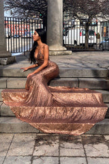 Yassmine Luxe - Bronze Sequin Gown with Low Back & Mermaid Train