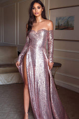 Yuliya - Rose Sequin Gown with Long Off-Shoulder Sleeves & Two Slits