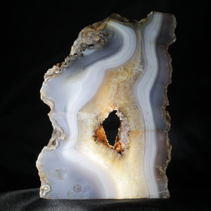 "Absolutely Arboreal, A Thick, Free-Standing Translucent Sculptural Agate Plate. This large, tree-like Agate plate is perfect for back lighting or a window space.  The very definition of natural decor.  6.5"" x 9"" 5 lb. 2 oz."