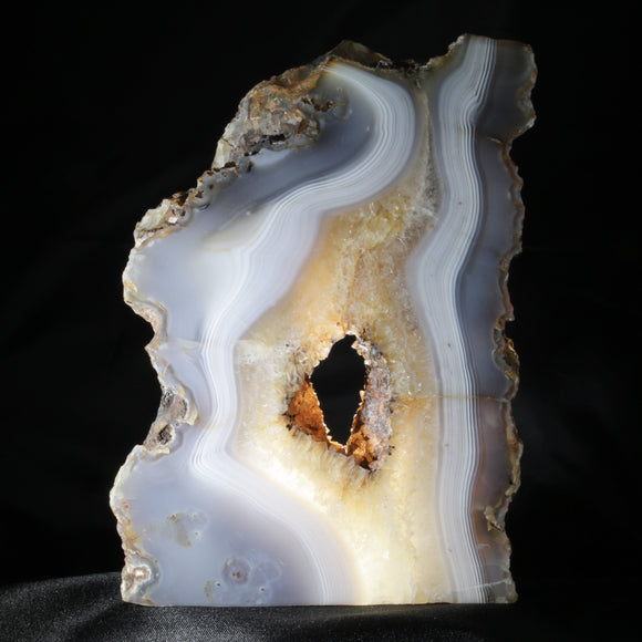 Absolutely Arboreal, A Thick, Free-Standing Translucent Sculptural Agate Plate. This large, tree-like Agate plate is perfect for back lighting or a window space.  The very definition of natural decor.  6.5