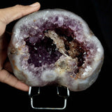 Amethyst Geode Natural Mineral Specimen # B 3800  https://www.superbminerals.us/products/amethyst-geode-2-halves-natural-mineral-specimen-b-3797  Features A Geode lined with lustrous, translucent, deep purple Amethyst Quartz crystals. The intense purple found in Amethyst is unlike anything else available, and this piece is no exception. Very aesthetic with amazing color and luster, and a great value. In excellent condition. Primary Mineral(s): Amethyst