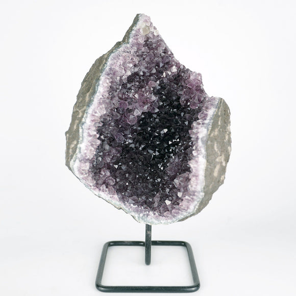 Amethyst Purple Cluster Natural Mineral Specimen # B 3754  https://www.superbminerals.us/products/amethyst-purple-cluster-natural-mineral-specimen-b-3754  Features:A Geode lined with lustrous, translucent, deep purple Amethyst Quartz crystals. The intense purple found in India Amethyst is unlike anything else available, and this piece is no exception. Very aesthetic with amazing color and luster, and a great value. In excellent condition. Primary Mineral(s): Amethyst