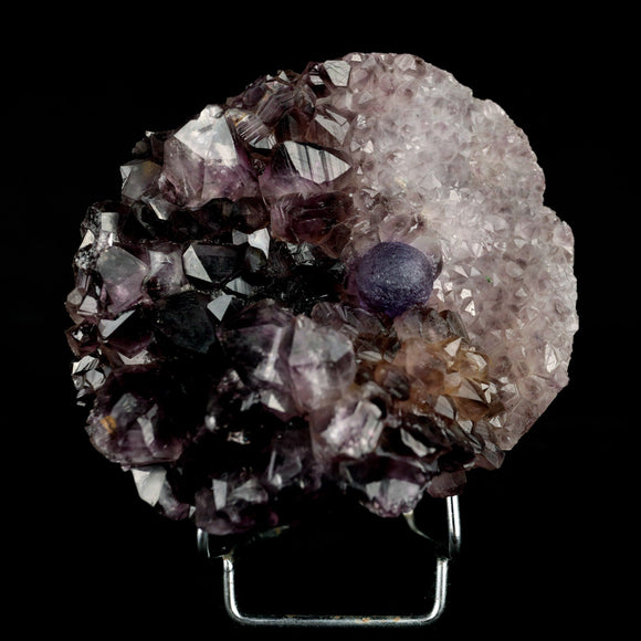 Amethyst Purple Cluster With Blue Fluorite Natural Mineral Specimen # …  https://www.superbminerals.us/products/amethyst-purple-cluster-with-blue-fluorite-natural-mineral-specimen-b-3971  Features Very rare found specimen that highlight a crystal or crystal cluster. This particular piece features a beautiful cluster of transparent, blue-violet, cubo-octahedral Fluorite crystals perfectly placed on a purple Amethyst crystals and half of the matrix coated with a clear Quartz druzy. The Fluorite crystals