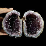 Amethyst Purple Crystals Geode (2 Halves ) Natural Mineral Specimen # …  https://www.superbminerals.us/products/amethyst-purple-crystals-geode-2-halves-natural-mineral-specimen-b-3807  Features A very aesthetic piece featuring two halves of an Amethyst Geode. The Amethyst crystals are on a colorless Quartz which itself is on layers of translucent, gray/blue Chalcedony. The color, luster and contrast is amazing. And to visualize two matched halves displayed is an eye-catcher. When the 2 halves