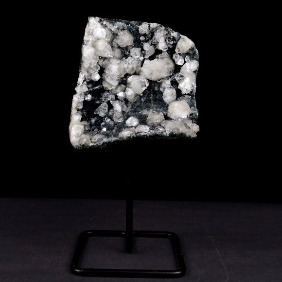 "Apophyllite Big Crystals with MM Quartz W/Stand Natural Mineral Specim…  https://www.superbminerals.us/products/apophyllite-big-crystals-with-mm-quartz-w-stand-natural-mineral-specimen-b-3919  FeaturesA large matrix of ""sparkly,"" dark-grey, microcrystalline MM quartz hosting numerous, colorless, transparent and lustrous modified cubes of Apophyllite. These Apophyllite cubes are like glass! Great contrast, clarity and crystal formation – in excellent condition.Primary Mineral(s):  Apophyllite"