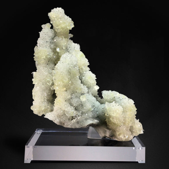 Apophyllite Crystals on Sparkling MM Quartz Stalactite, Jalgaon, India #TB35 Apophyllite Superb Minerals