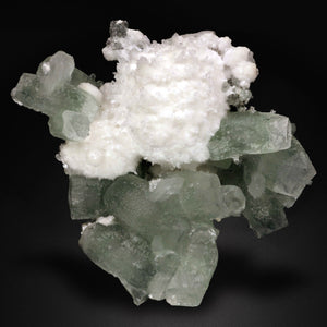 """COLLECTOR SPECIMEN"" ""LIMITED FIND"" A RARE ""WATER WELL POCKET FIND"" OF TABULAR GREEN APOPHYLLITE WITH MILKY WHITE SPHERES OF MORDENITE."