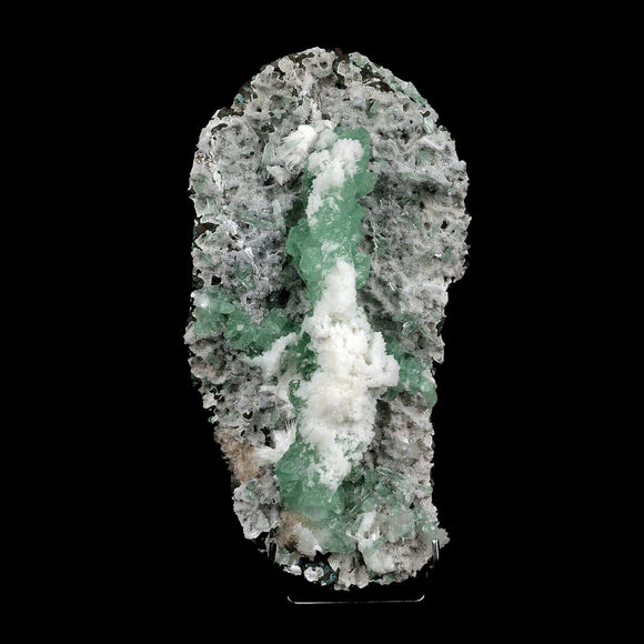 Apophyllite Green with Scolecite on Chalcedony Attention Grabber # B 3…  https://www.superbminerals.us/products/apophyllite-green-with-scolecite-on-chalcedony-attaintion-graber-b-3744  Features:A very aesthetic piece featuring a matrix densely coated with miniature, sparkling mint crystals with a numerous of lustrous, larger light-green to green Apophyllite crystals on white chalcedony matrix, all hosting a line of transparent, mint-green Apophyllite pointed crystals ascending to the top of the piece