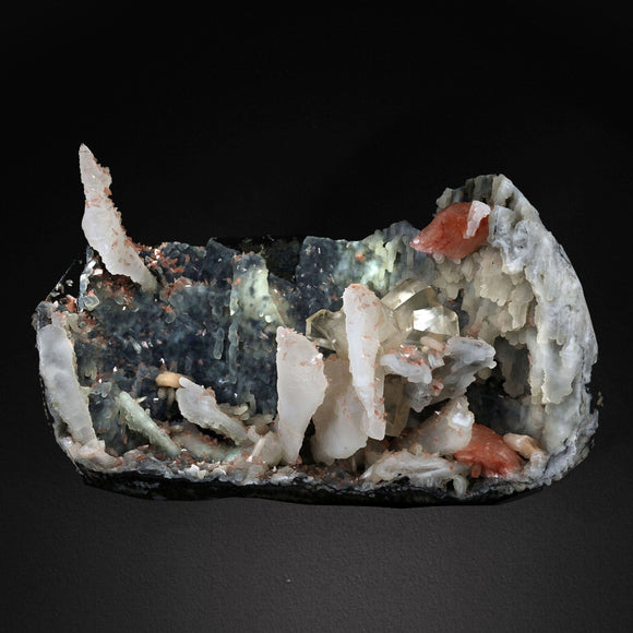 Calcite Crystal with Heulandite Stilbite on Chalcedony # 20T25 Calcite Superb Minerals