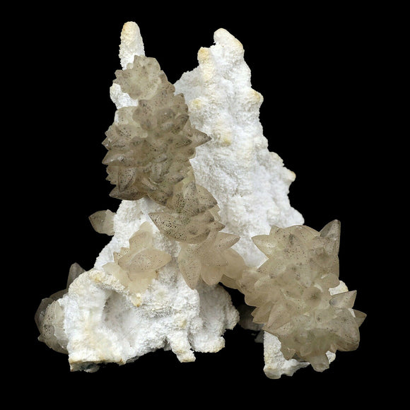 "Calcite Yellow Crystal on Mordenite Natural Mineral Specimen # B 3684  https://www.superbminerals.us/products/calcite-yellow-crystal-on-mordenite-natural-mineral-specimen-b-3684  FeaturesThis unique and aesthetic piece features two spherical Calcite crystal clusters on a Mordenite. These clusters exhibit an ""oily"" luster with a striking white dusty color. No damage. Primary Mineral(s): CalciteSecondary Mineral(s): N/AMatrix: Mordenite12 cm x 10 cm380.00 GmsLocality: Aurangabad, Maharashtra,"