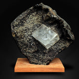 Calcite Cube Attached to Black Chalcedony Geode, Aurangabad, India # M77 Calcite Superb Minerals