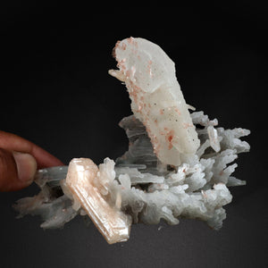 Calcite with Stilbite Heulandite on Chalcedony # 20T17 Calcite Superb Minerals
