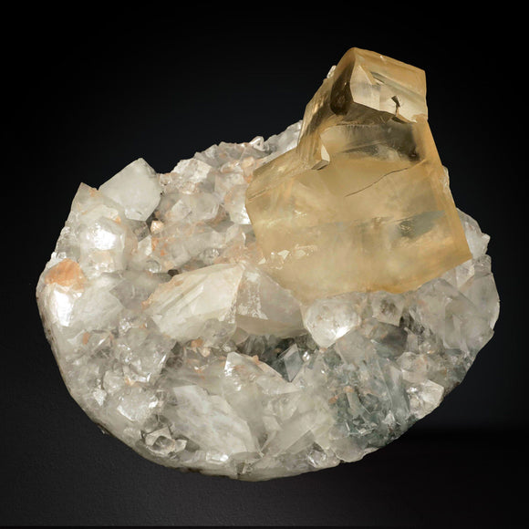 Calcite Yellow curved Crystal with Apophyllite on Chalcedony - #20T139 Calcite Superb Minerals