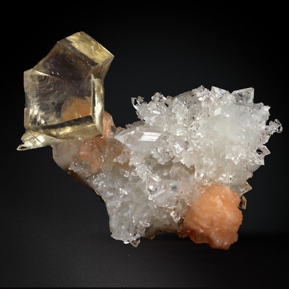 Calcite Yellow with Apophyllite and Stilbite # 20T106 Calcite Superb Minerals