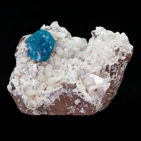 Cavansite Ball with Stilbite on Heulandite # E53 Thick cavansite ball, some tiny stilbite growing on it. Numerous stilbite blades through out matrix. Primary Mineral(s): CavansiteSecondary Mineral(s): StilbiteMatrix: Heulandite7.5cm x 5cm X 4.5cm5.5 OzLocality: Pune, Maharashtra, India