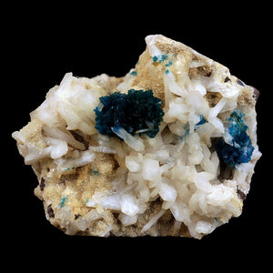 Cavansite Blue Crystal with Stilbite on Heulandite Natural Mineral Spe…  https://www.superbminerals.us/products/cavansite-blue-crystal-with-stilbite-on-heulandite-natural-mineral-specimen-b-3519  FeaturesThis aesthetic piece features two spherical rosettes of deep-blue Cavansite crystals on matrix covered with miniature Stilbite crystals. The contrast and color is amazing and the piece is in excellent condition. Primary Mineral(s): CavansiteSecondary Mineral(s): HeulanditeMatrix: N/A7 cm x 6 cm150 Gms