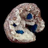 Cavansite Four Balls with Stilbite inside Heulandite Geode  # E22 Four prisfire cavansite balls. Lustrous! geode specimen. Self standing, from two angles (back and bottom).  Primary Mineral(s): Cavansite, Secondary Mineral(s): N/AMatrix: Heulandite10 cm x 8 cm X 9.5 cm1.4 lbsLocality: Pune, Maharashtra, IndiaYear of Discovery: 2020