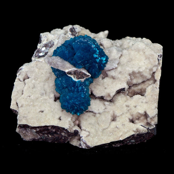 Cavansite Puffballs on Heulanidte # E28 Thick formations, puffballs of cavansite. Centered on goldish heulandite matrix.  Primary Mineral(s): CavansiteSecondary Mineral(s): N/AMatrix: Orange Heulandite9 cm x 7 cm X 6.75 cm1.0 lbsLocality: Pune, Maharashtra, India