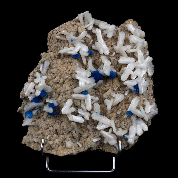 Cavansite with Stilbite on Heulandite Cluster Natural Mineral Specimen…  https://www.superbminerals.us/products/cavansite-with-stilbite-on-heulandite-cluster-natural-mineral-specimen-b-4040  Features:A large matrix specimen of Bright blue Cavansite on Stilbite from India. The sprays of Cavansite are an electric blue and accent well against the snow white Stilbite. There is a covering of Heulandite to much of the matrix too.  Primary Mineral(s): CavansiteSecondary Mineral(s): Stilbite