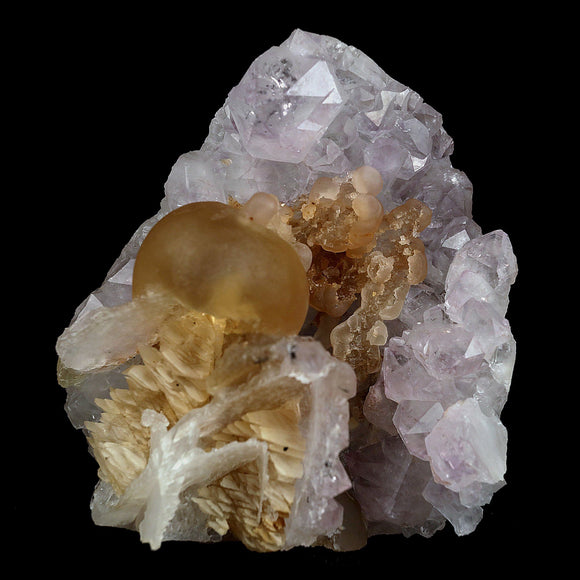 Fluorite Botryoidal with Calcite on Amethyst Plate Natural Mineral Spe…  https://www.superbminerals.us/products/fluorite-botryoidal-with-calcite-on-amethyst-plate-natural-mineral-specimen-b-4086  Features:This is a superb and unique piece featuring a large, complete and perfect spherical (botryoidal) formation of highly translucent yellow Fluorite on a plate of lustrous Amethyst Quartz crystals along with Calcite.