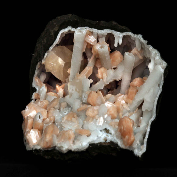 Golden Calcite with Coated Calcite Stilbite Geode, Aurangabad, India # M56 Calcite Superb Minerals