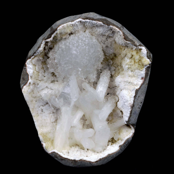 Goosecreekite with Stilbite, Mordenite Inside Geode Natural Mineral Sp…  https://www.superbminerals.us/products/goosecreekite-with-stilbite-mordenite-inside-geode-natural-mineral-specimen-b-3823  Features A superb piece that features a large hollow Geode lined with white, microcrystalline Goosecreekite hosting numerous intersecting several translucent peach-colored Stilbite crystals. Simply an amazing piece – the crystal formation, the luster, the contrast, the symmetry. Primary Mineral(s): Goosecreekite
