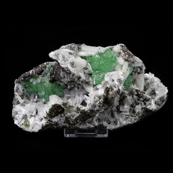 Green Aphophyllite and White Stilbite with Chalcedony - #B17 Apophyllite & Stilbite Superb Minerals