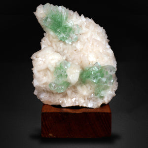 Green Apophyllite Flower On Stilbite Plate, Nashik, India # M09 Chalcedony Superb Minerals