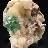 Green Apophyllite Flower on Stilbite, Rahuri, India #TUC002 Apophyllite & Heulandite Superb Minerals