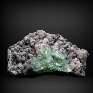 Green Apophyllite on Chalcedony and Stilbite - #A13 Apophyllite Superb Minerals