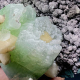 Green Apophyllite Radiating with Stilbite on Chalcedony Natural Mineral Specimen # F50 Apophyllite Superb Minerals