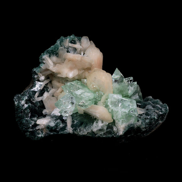 Green Apophyllite with Stilbite Big Cluster Natural Mineral Specimen #…  https://www.superbminerals.us/products/green-apophyllite-with-stilbite-big-cluster-natural-mineral-specimen-b-4107  Features:This is a beautiful cluster of some uniquely zoned, pseudo-cubic, Apophyllite crystals and lustrous peach stilbite. The large Apophyllite crystals display some very interesting zoning with bands of colors ranging from apple green at the base to clear at the top of the crystals.