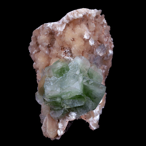 Green Apophyllite With Stilbite Natural Mineral Specimen # B 3903  https://www.superbminerals.us/products/green-apophyllite-with-stilbite-natural-mineral-specimen-b-3903  FeaturesA huge cabinate size specimen facilitating various glossy, straightforward, mint-green pseudocubic Apophyllite gems with altered corners all on a bed of peach shaded Stilbite bunch. The shade of the Apophyllite is remarkable just like the difference and equilibrium.