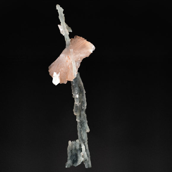 An unbelievably graceful formation.  A large crystal of Heulandite is suspended by a Black Chalcedony stalactite. The Black Chalcedony stalactite grows through and supports the Heulandite crystals. Minor Stilbite crystals complement the piece.