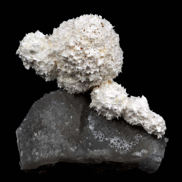 Mordenite Full Moon Formation On MM Quartz Natural Mineral Specimen # …  https://www.superbminerals.us/products/mordenite-full-moon-formation-on-mm-quartz-natural-mineral-specimen-b-3840  FeaturesThis is a really interesting piece. The contrast really caught eye. On one hand you have this large full moon cluster of pristine Mordenite crystals & small numerous mordenite in a line with a beautiful pearly luster, set atop a chalky-like matrix of MM Quartz with an appearance like a sparkling sky bed.