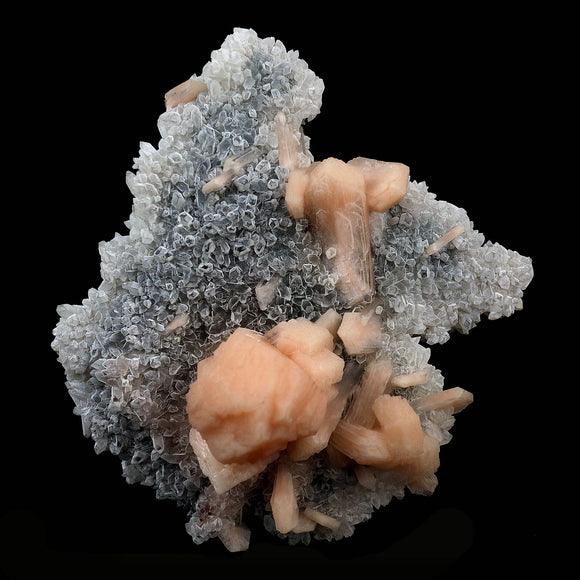 Pink Stilbite with Apophyllite on Chalcedony Natural Mineral Specimen …  https://www.superbminerals.us/products/pink-stilbite-with-apophyllite-on-chalcedony-natural-mineral-specimen-b-4130  Features:This combination and perfection. With two pristine Stilbite crystals sitting centered next to a flawless, large, transparent water-clear pyramidal Apophyllite crystal on top of numerous smaller gemmy Stilbite crystals all on a contrasting matrix, you now have a Ziolite that's worth having in your collection!