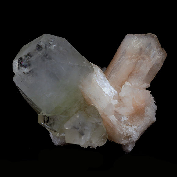 Pointed Apophyllite Crystals with Stilbite Natural Mineral Specimen # …  https://www.superbminerals.us/products/pointed-apophyllite-crystals-with-stilbite-natural-mineral-specimen-b-4127  Features:This is a beautifully balanced and aesthetic specimen of water clear, transparent Apophyllite. Positioned perfectly in the center of a mass of lustrous Apophyllite crystals, is a large, perfect pyramidal Apophyllite crystal, but to the left is a large rectangular crystal, contrasting two distinct crystal habit