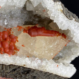 Ridiculously Red Fluorite on Calcite in a Quartz Geode Fluorite Superb Minerals