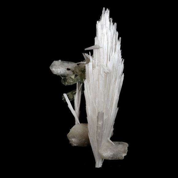 Scolecite with Stilbite & Apophyllite Natural Mineral Specimen # B 352…  https://www.superbminerals.us/products/scolecite-with-stilbite-apophyllite-natural-mineral-specimen-b-3524  FeaturesA very large, tapered spray of elongated colorless Scolecite crystals. There is a small remnant of matrix attached with a small Stilbite crystal & light green apophyllite crystals. The Scolecite crystals are glassy and highly translucent with transparent terminations. A beautiful specimen in excellent condition