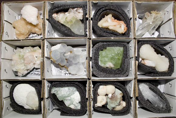 Superb Wholesale Mineral Flats. 12 mixed Indian Zeolites Wholesale Superb Minerals