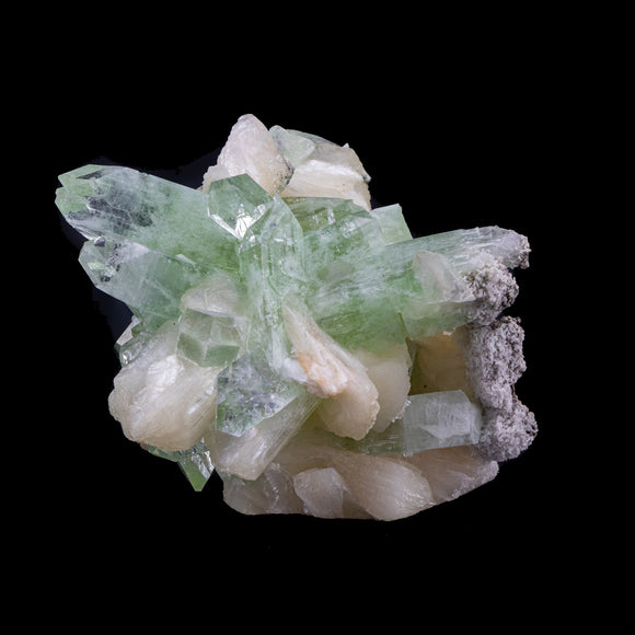 Terminates Green Apophyllite Crystals with Stilbite - #B31 Apophyllite Superb Minerals