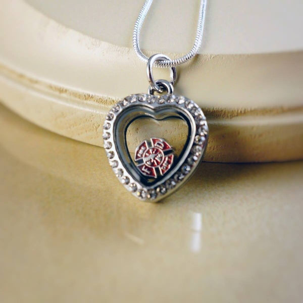 girlfriend gift plated jewelry product swarovski firefighter fireman necklace xl crystal