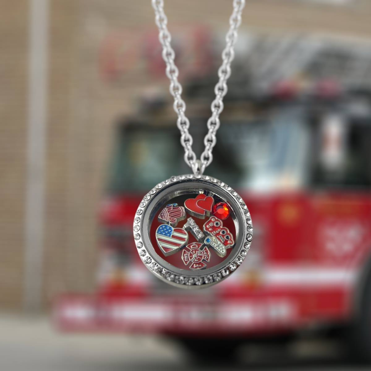 Firefighter floating charms in 30mm locket pendant with silver firefighter floating charms in 30mm locket pendant with silver necklace aloadofball Image collections