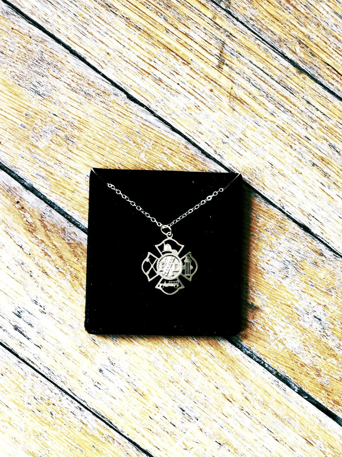 pendant plated cross and maltese crystals item a sparkling silver enamel firefighter with zinc antique lot